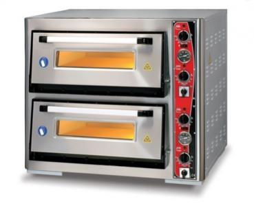 Doppelkammer Pizzaofen mit Thermometer   6+6 Pizzen mit Ø 34cm   B970xT1240xH760 mm