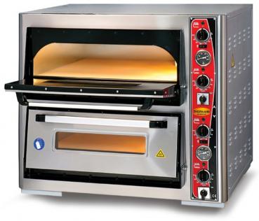 Doppelkammer Pizzaofen mit Thermometer | 4+4 Pizzen mit Ø 30cm | B890xT820xH780 mm