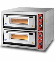 Doppelkammer Pizzaofen ohne Thermometer   4+4 Pizzen mit Ø 34cm   B970xT1120xH760 mm
