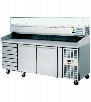Pizzakühltisch mit Aufsatz 2 Meter   2 Türen   7 Schubladenblock