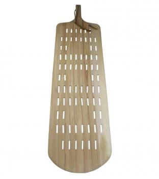 Rechteckige Pizzaschaufel Holz | durchlöschert mit Stiel | 30x93 (BxT in cm)